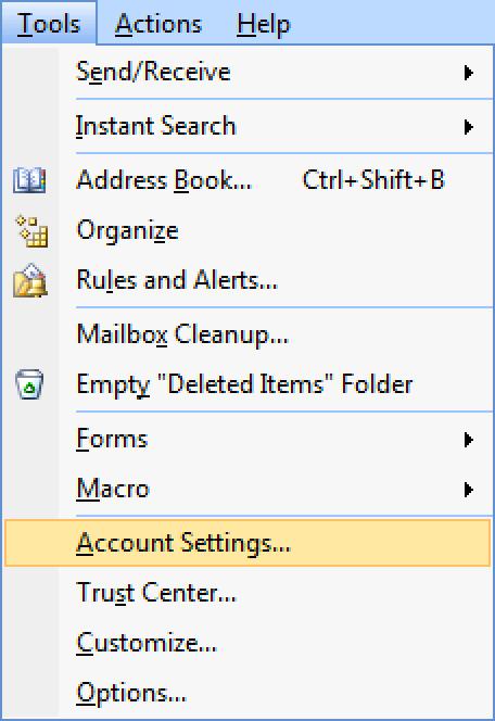 Clique Ferramentas, selecione Configurações da conta