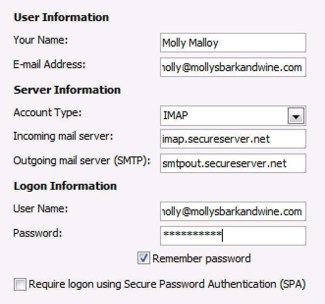 Insira os detalhes de seu endereço do Email Business.