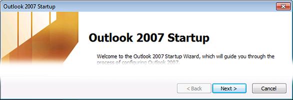 Na tela de boas-vindas do Outlook 2007, clique em Avançar