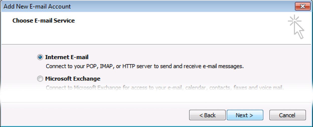 Selecione Internet Email, clique Avançar