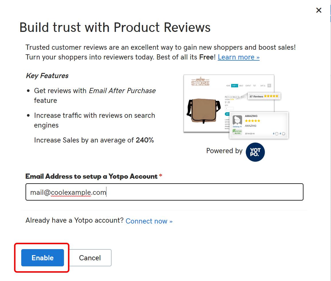 habilitar reseñas de la tienda en línea haz clic en habilitar