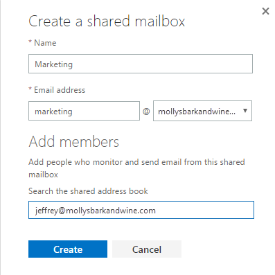 Create new shared mailbox