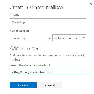Create new shared mailbox