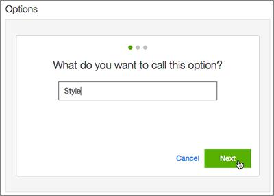 Haz clic en Crear una nueva opción