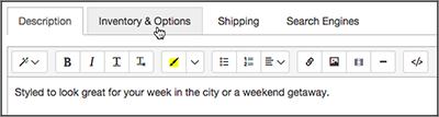 Haz clic en la pestaña Inventario y opciones.