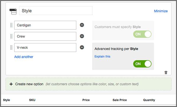 Ingresa la cantidad en el Inventario y haz clic en la pestaña Crear opciones