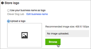 Haz clic en Examinar para buscar la imagen del logotipo.