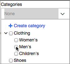 Selecciona una categoría del menú Categorías o crea una nueva