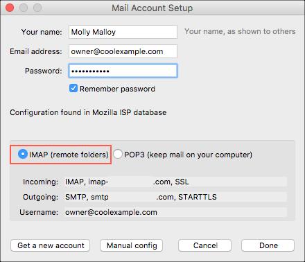 Selecione IMAP (pastas remotas)