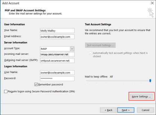 Haz clic en más opciones de configuración