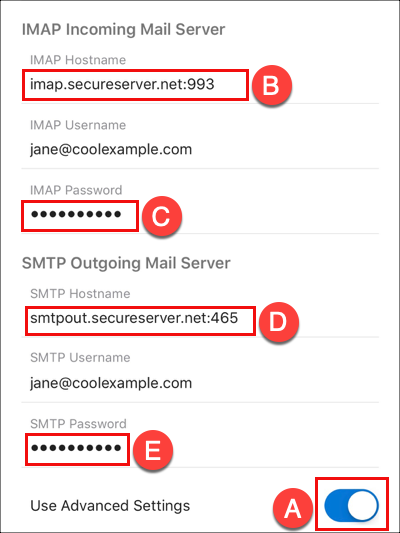 Enter IMAP and SMTP server info