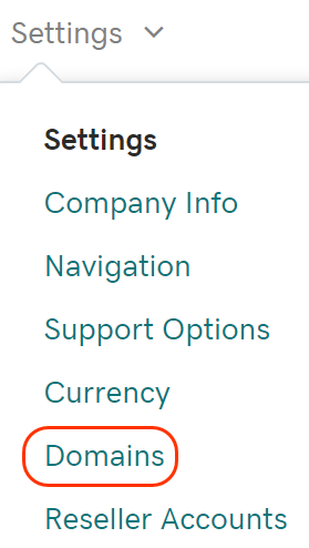 Select Domains from the Settings tab
