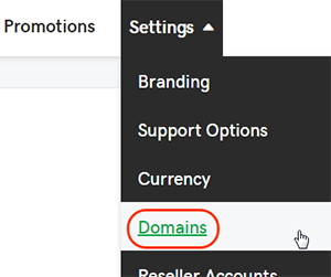 Select Domains from Settings tab