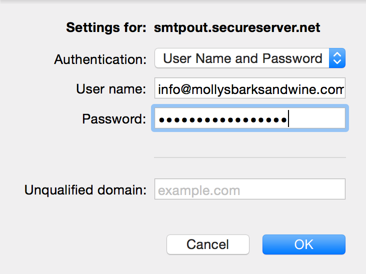Select User Name and Password and enter details