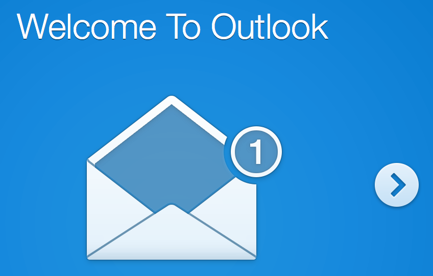 First Outlook intro screen