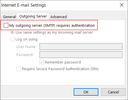 Select authentication option
