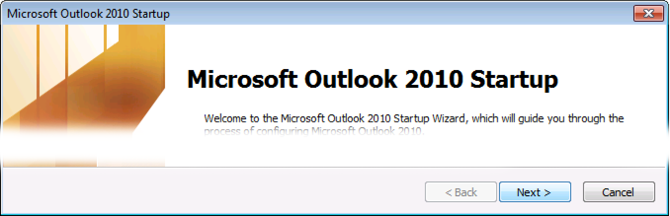 Velkomstskjerm for Outlook 2010, klikk på Neste