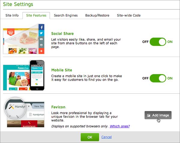 """Klicken Sie im Register """"Site-Funkionen"""" im Abschnitt """"Favicon"""" auf """"Bild hinzufügen""""."""