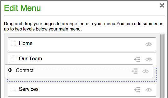 순서를 재정렬하려면 메뉴 항목을 클릭한 다음 끌어 이동하기