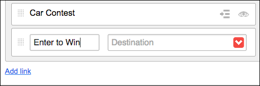 出力先メニューまたはフィールドを使用して、メニュー項目をページにリンクする