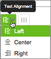 Use the menu to choose the alignment for your navitation text labels