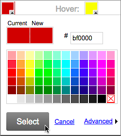 Pick a color and click Select.
