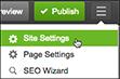 Klikk på ikonet med tre linjer (Administrer innstillinger) for å administrere innstillingene for nettstedet ditt.