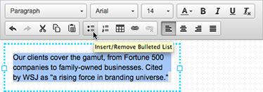 Bruk tekstredigeringsprogarmmet til å endre den valgte teksten.