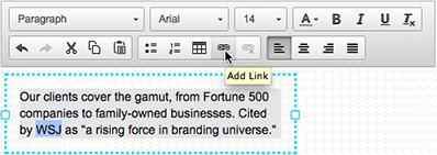 Kliknij ikonę łańcucha, by dodać łącze do wybranego tekstu.