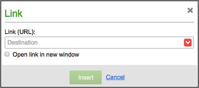 Użyj okna Łącze, by wybrać Miejsce docelowe łącza tekstowego.