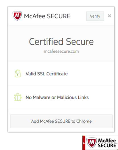 Diálogo SSL do selo McAfee SECURE