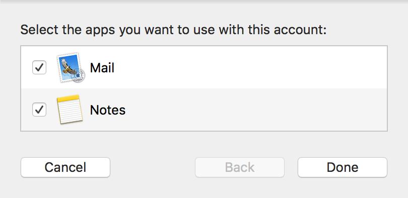 Selecciona aplicaciones para conectarte a la cuenta.