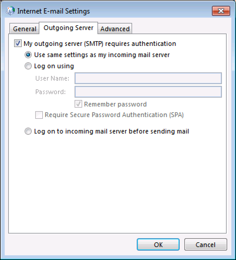 Outgoing Server tab: Select My outgoing server requires authentication, and Use same settings