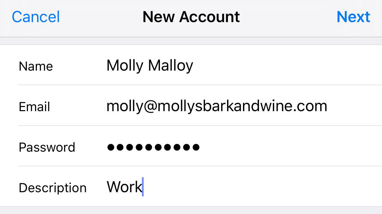 Nhập thông tin chi tiết tài khoản email