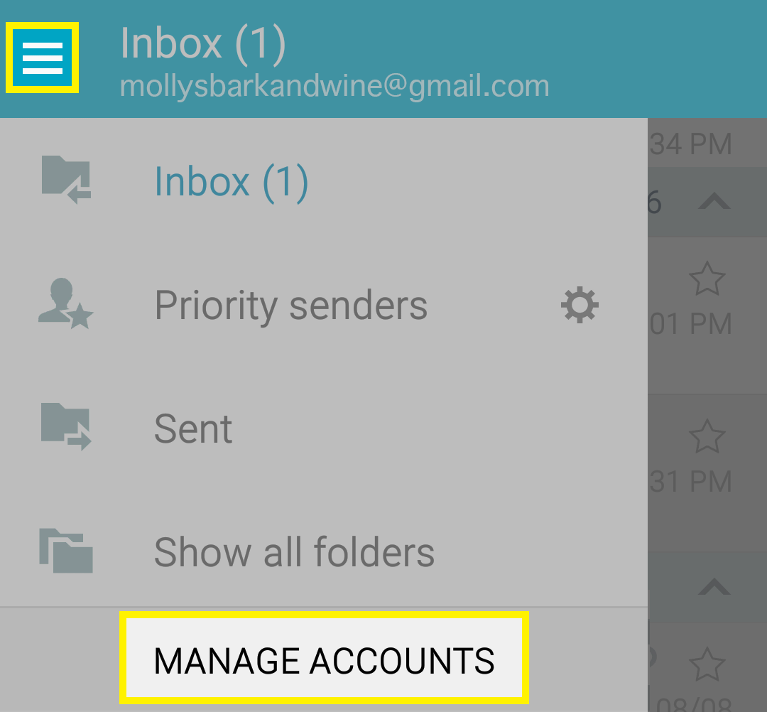 Tap menu, tap Manage account