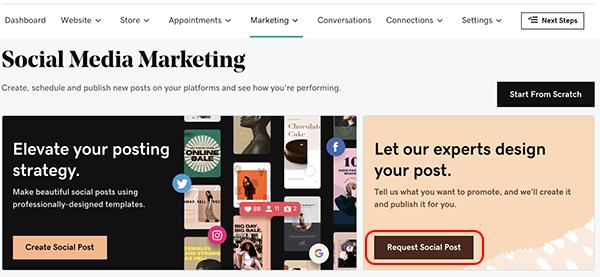 sélectionner demander une publication sociale