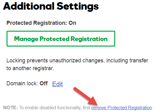 Remove Protected Registration Link