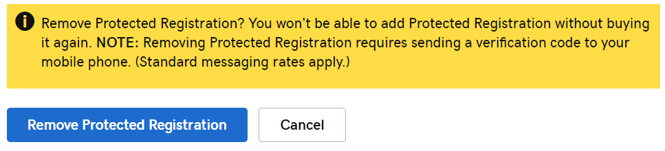 Remove Protected Registration button