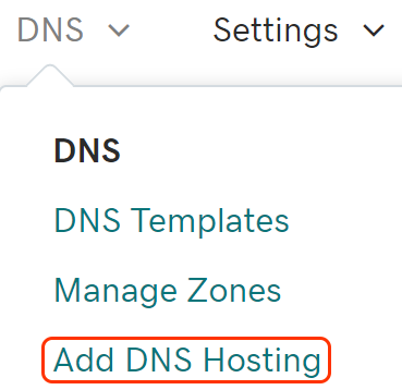 select add dns hosting hosting from dns menu