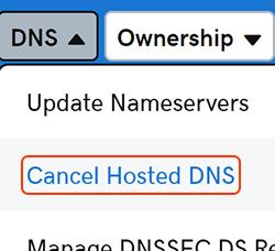 cancelar el DNS alojado
