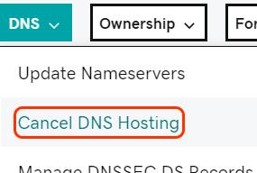 annuleer gehoste DNS