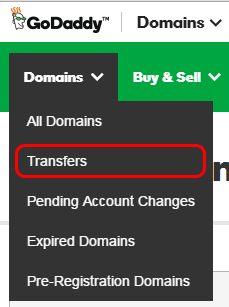 Domain Transfer menu option