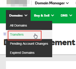 Pilihan menu Transfer Domain