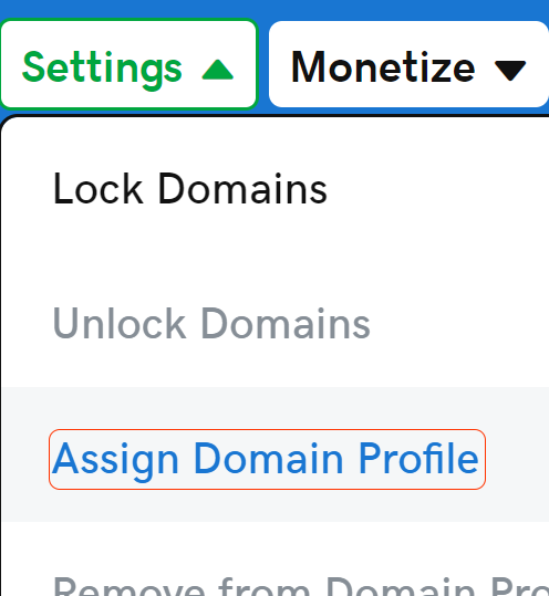 assign domain profile