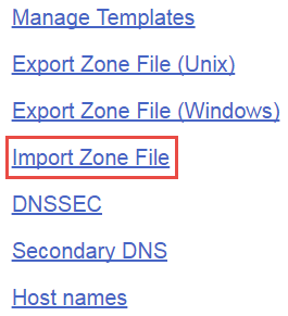 Import Zone File