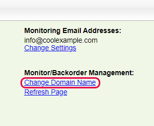 select change domain name under backorder management