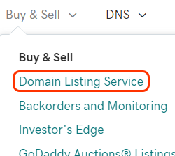 domain listing service option from menu