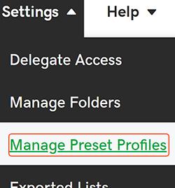 プリセットプロファイルを管理