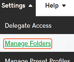select manage folders