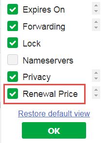 Renewal price